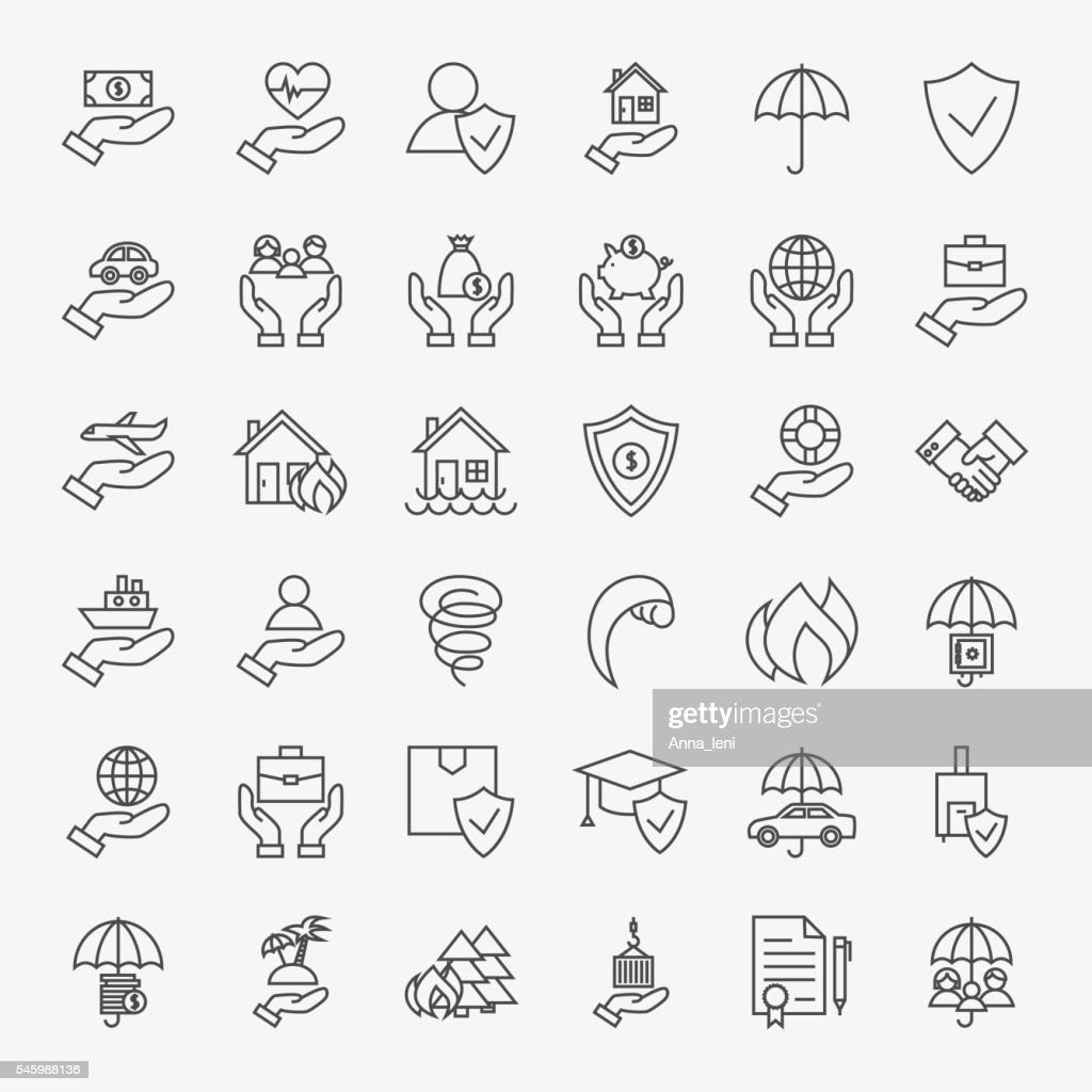Insurance Line Art Design Icons Big Set