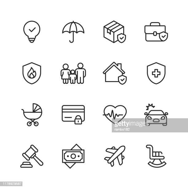 insurance line icons. editable stroke. pixel perfect. for mobile and web. contains such icons as insurance, agent, shipping, family, credit card, health insurance, savings, accident. - shield stock illustrations