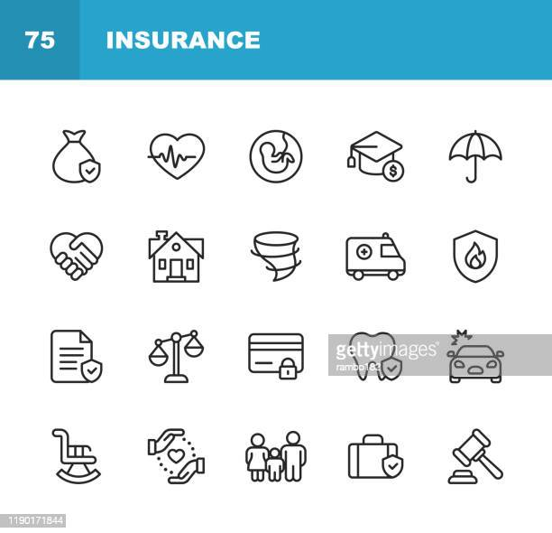 insurance line icons. editable stroke. pixel perfect. for mobile and web. contains such icons as insurance, agent, shipping, family, credit card, health insurance, savings, accident. - law stock illustrations