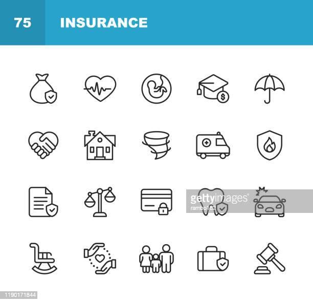 ilustrações de stock, clip art, desenhos animados e ícones de insurance line icons. editable stroke. pixel perfect. for mobile and web. contains such icons as insurance, agent, shipping, family, credit card, health insurance, savings, accident. - família