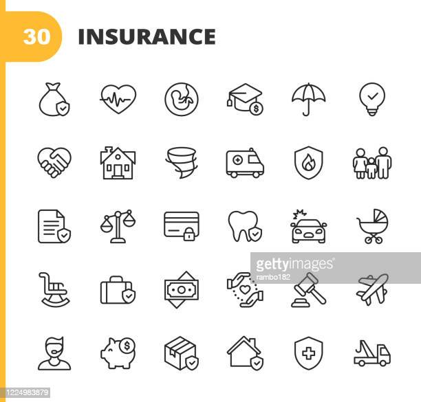 insurance line icons. editable stroke. pixel perfect. for mobile and web. contains such icons as insurance, agent, shipping, family, credit card, health insurance, savings, accident, law, travel insurance, real estate, support, retirement. - insurance stock illustrations