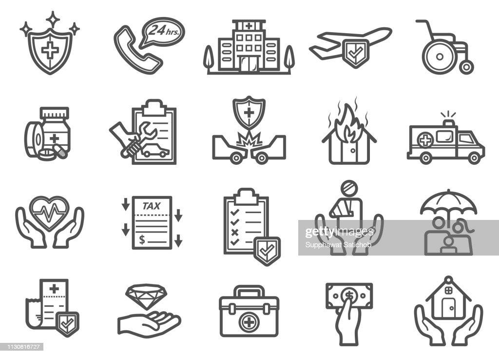 Insurance Line Icons Set : stock illustration