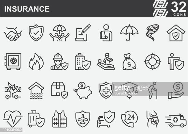 保険ラインアイコン - 事故・災害点のイラスト素材/クリップアート素材/マンガ素材/アイコン素材