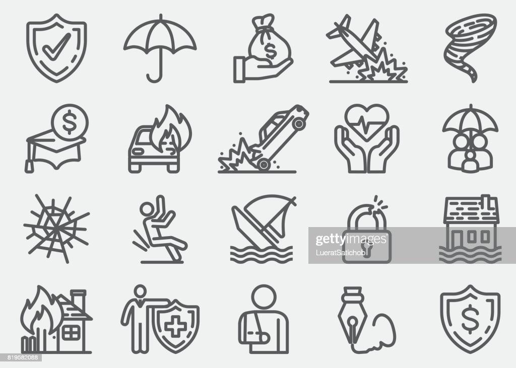 Insurance Line Icons : stock illustration