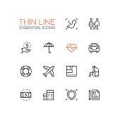 Insurance - modern vector single thin line icons set