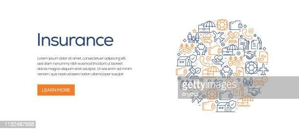 versicherungs-banner vorlage mit line icons. moderne vektordarstellung für werbung, header, website. - versicherung stock-grafiken, -clipart, -cartoons und -symbole