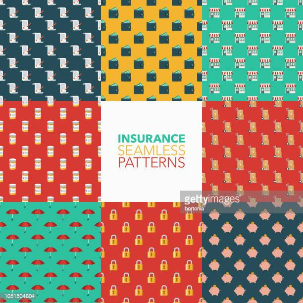 insurance seamless pattern set - legal document stock illustrations, clip art, cartoons, & icons