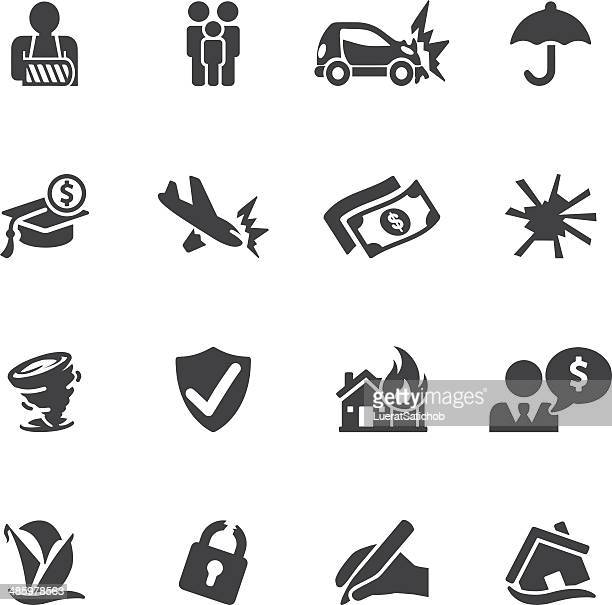 insurance silhouette icons| eps10 - misfortune stock illustrations, clip art, cartoons, & icons