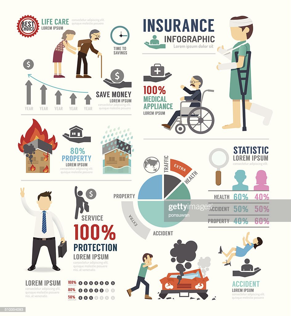Insurance Template Design Infographic . Concept Vector.