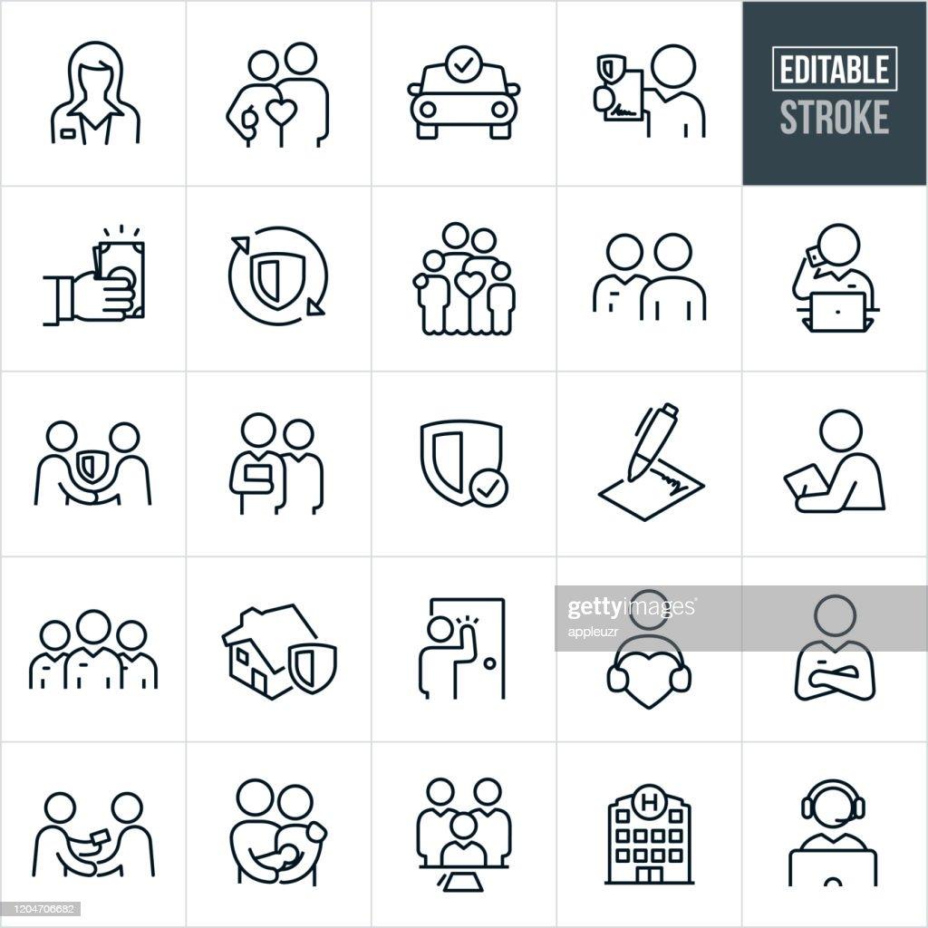 保険の細線アイコン - 編集可能ストローク : ストックイラストレーション