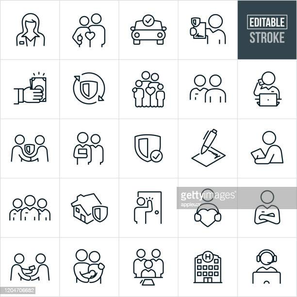 insurance thin line icons - editable stroke - protection stock illustrations
