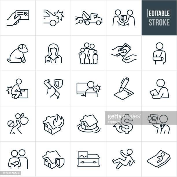 ilustrações, clipart, desenhos animados e ícones de tipos de seguros ícones de linha fina - traçado editável - impacto