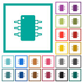 Integrated circuit flat color icons with quadrant frames