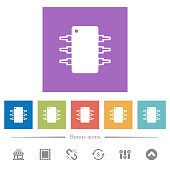Integrated circuit flat white icons in square backgrounds
