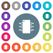 Integrated circuit flat white icons on round color backgrounds