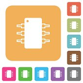 Integrated circuit rounded square flat icons