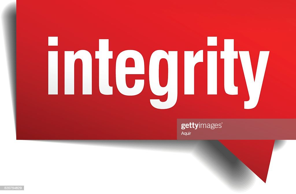 integrity red 3d realistic paper speech bubble