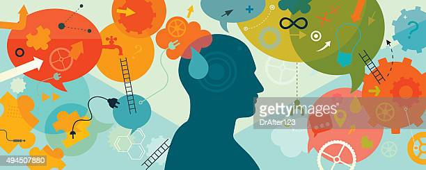 intellectual mind horizontal - contemplation stock illustrations, clip art, cartoons, & icons
