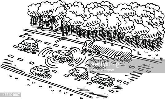 Intelligent Traffic Control System Drawing Vector Art