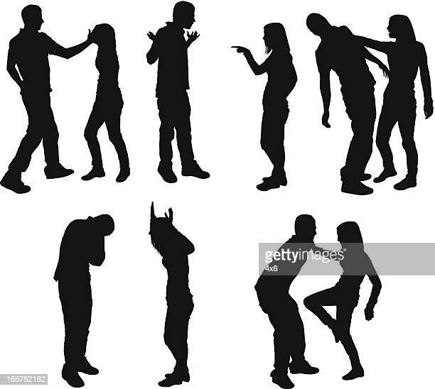 intense couple arguing - fighting stock illustrations