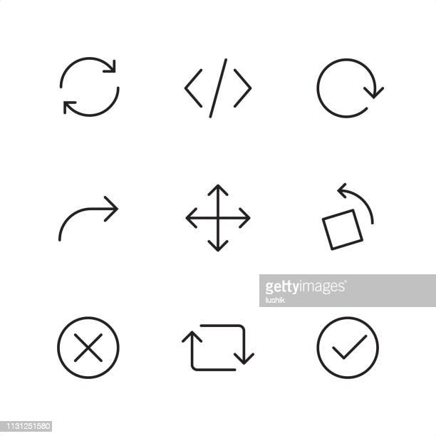 interaction arrows  - pixel perfect outline icons - cursor stock illustrations