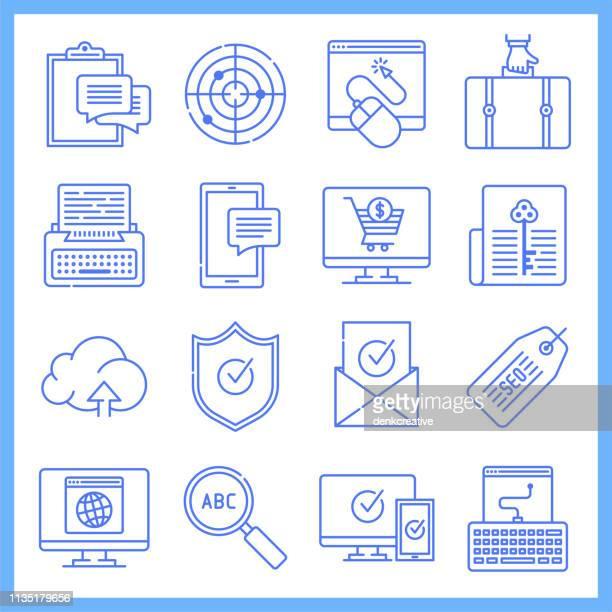 Interactive Brand Experiences Blueprint Style Vector Icon Set