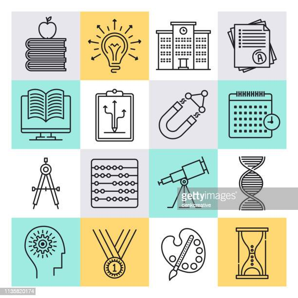 interactive learning system outline style vector icon set - stem topic stock illustrations