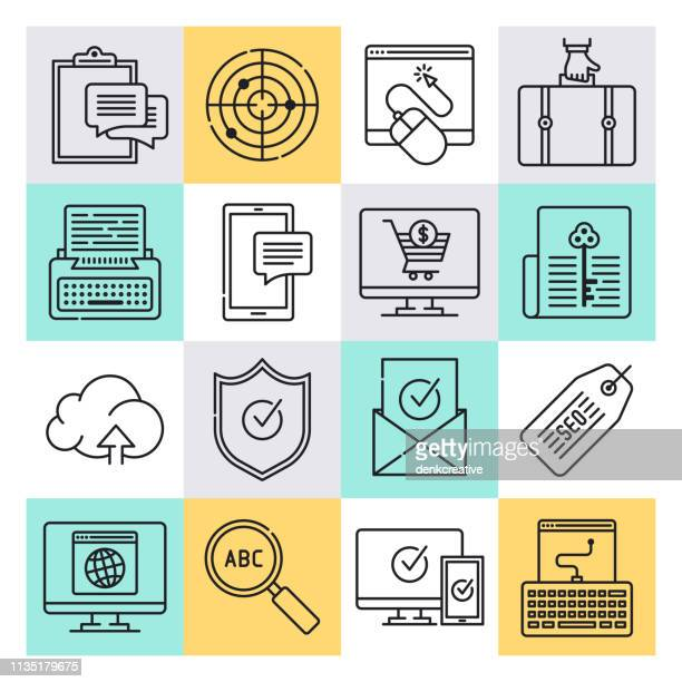 interactive online advertising outline style vector icon set - online advertising stock illustrations, clip art, cartoons, & icons