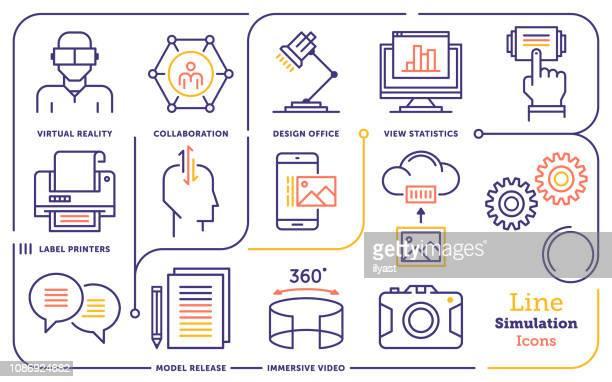 ilustraciones, imágenes clip art, dibujos animados e iconos de stock de conjunto de iconos de línea de vector de capacitación virtual interactiva - simulador de realidad virtual