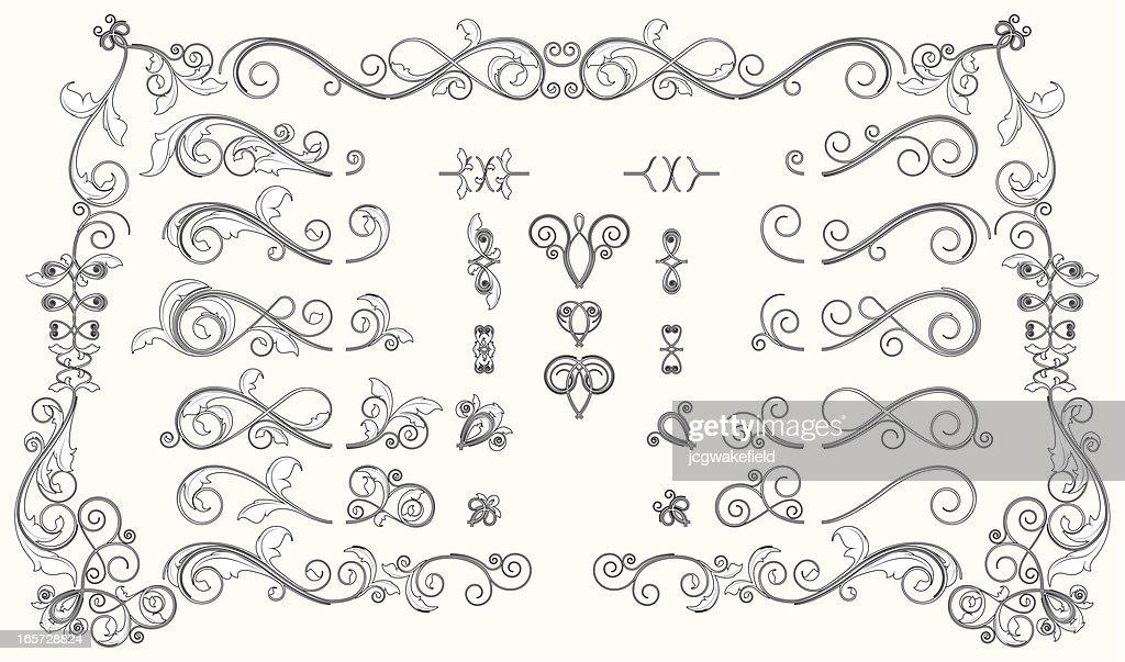 Interchangable Bold Floral Scroll Set