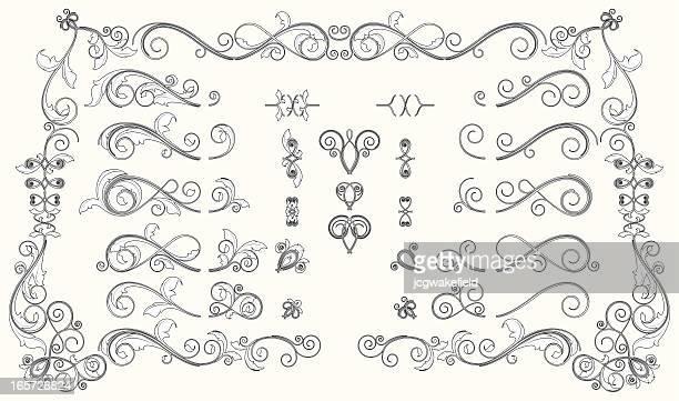 illustrations, cliparts, dessins animés et icônes de bannière interchangable fleuri audacieux ensemble - edwardian fashion