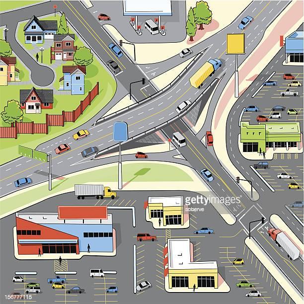 interchange - overpass road stock illustrations