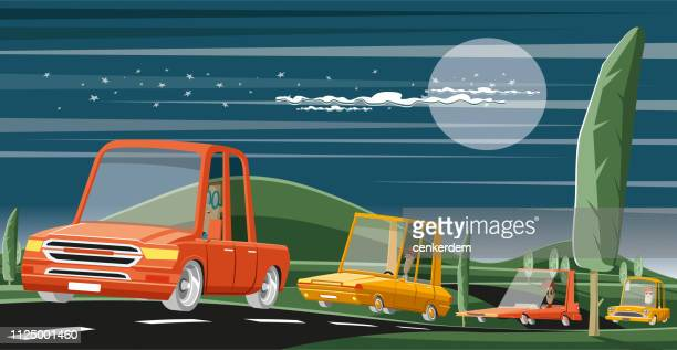 intercity night drive - car ownership stock illustrations, clip art, cartoons, & icons
