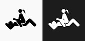 Intercourse Icon on Black and White Vector Backgrounds