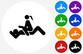 Intercourse Icon on Flat Color Circle Buttons