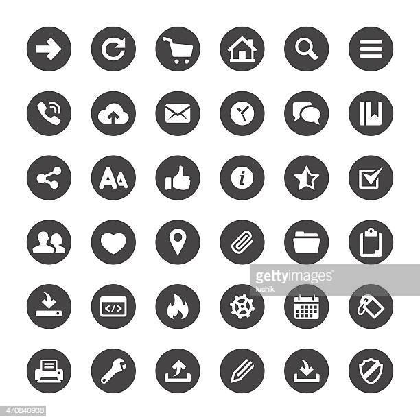 interface and media basics vector icons - information symbol stock illustrations, clip art, cartoons, & icons