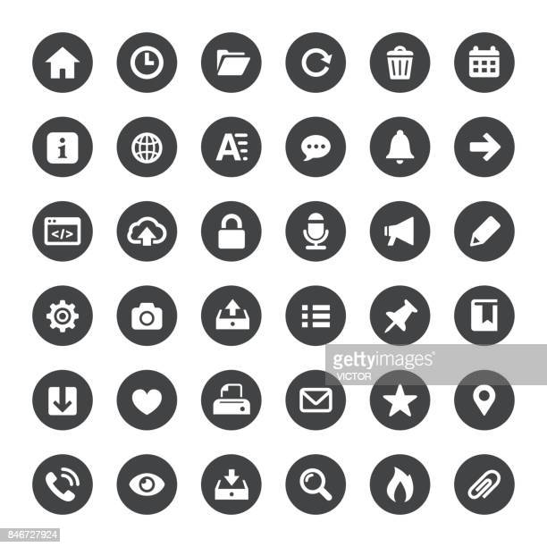 interface and media vector icons - outbox filing tray stock illustrations