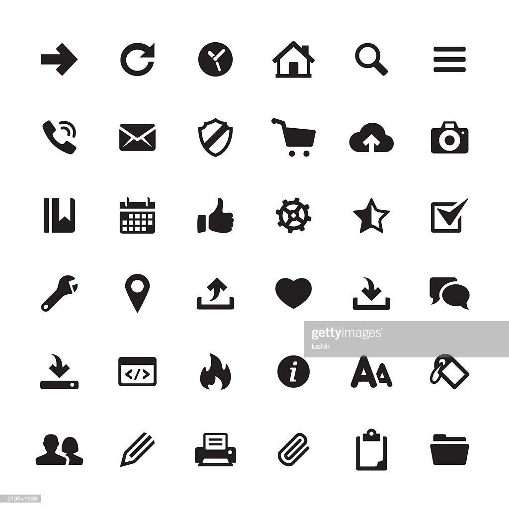 インタフェース、メディアのアイコンベクトルのシンボルと : ストックイラストレーション