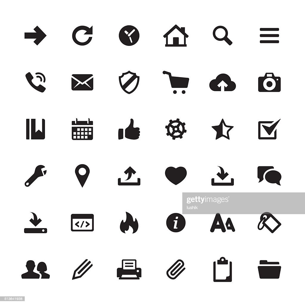 Interface and Media vector symbols and icons