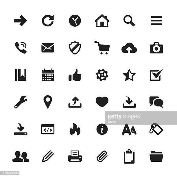 interface and media vector symbols and icons - information symbol stock illustrations, clip art, cartoons, & icons