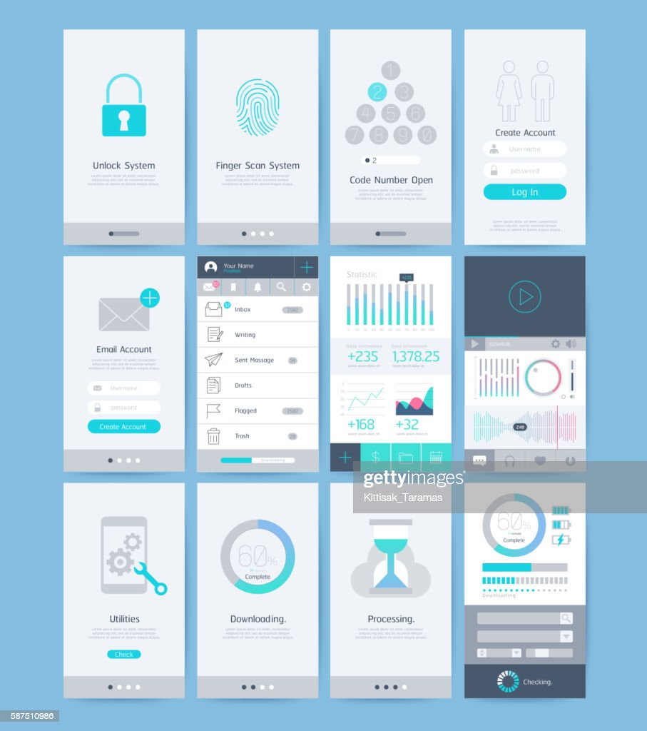 Interface and UI design elements.