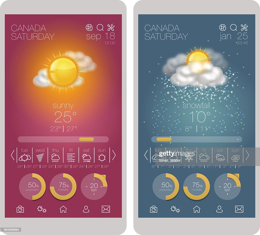 UI interface and weather icon set on smartphone : Stock Illustration