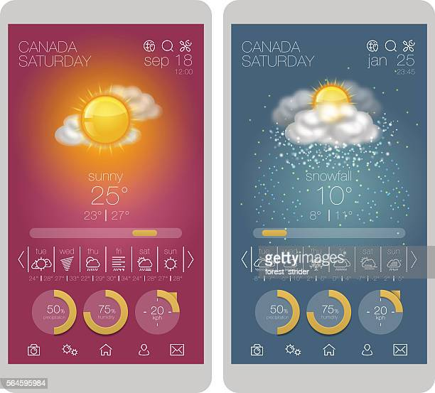 ui interface and weather icon set on smartphone - wetter stock-grafiken, -clipart, -cartoons und -symbole