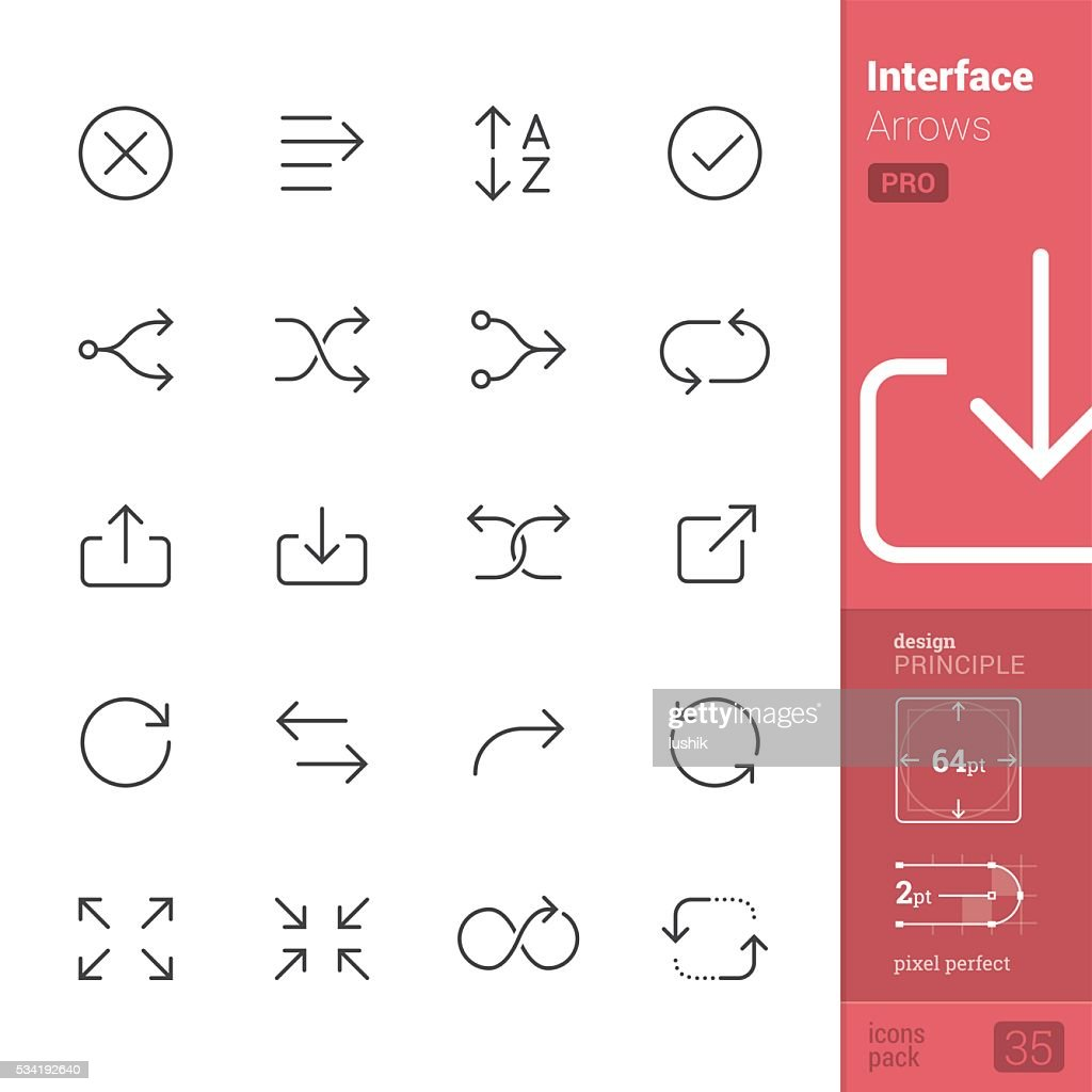 Interface Arrows Outline vector icons - PRO pack
