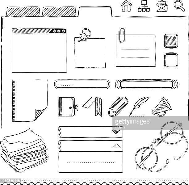interface-design-elemente - notizbuch stock-grafiken, -clipart, -cartoons und -symbole
