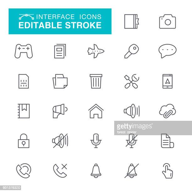interface editable stroke icons - garbage can stock illustrations