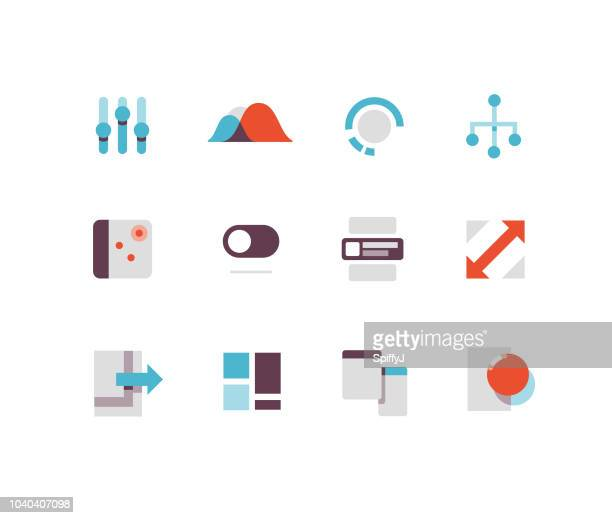 interface flat icons - line graph stock illustrations