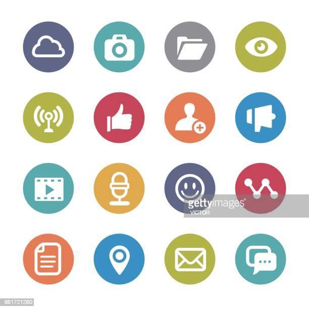 ilustrações, clipart, desenhos animados e ícones de ícones - série círculo da interface - ícone de redes sociais