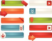 Interface Icons, Labels, Tags Set: White, Blue, Red, Orange, Green