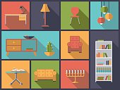 Interior and furniture icons vector illustration.